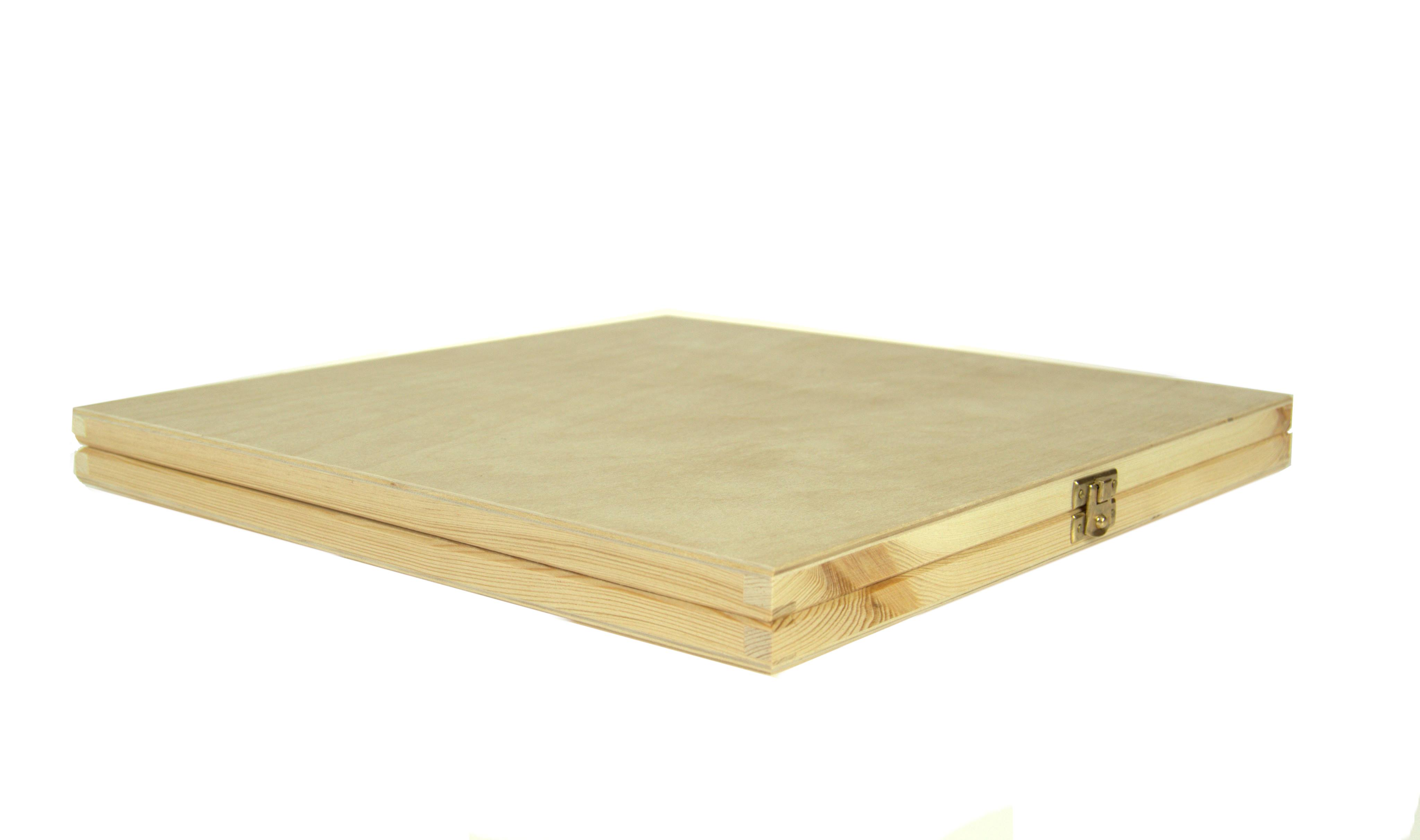 Flat square wooden box for vinyls